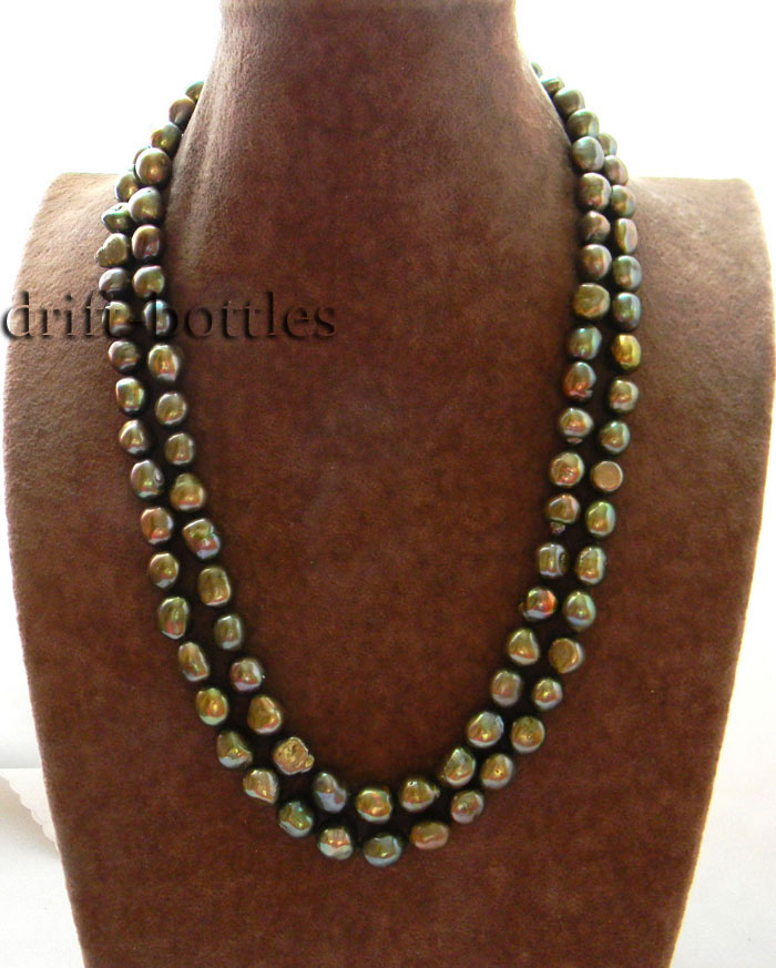 Mabe Pearl Necklace: 2ROW 22'' 11mm Baroque Green Freshwater Pearl Necklace