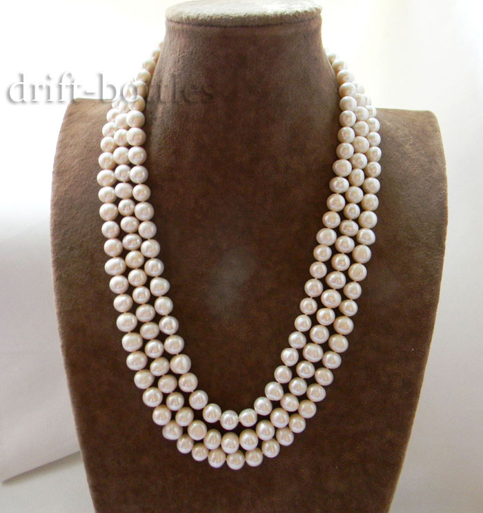 Mabe Pearl Necklace: 3Strands 21'' 9mm White Round Freshwater Pearl Mabe Clasp